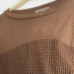 One A Sweaters - Tan stripe/cut detailed sweater